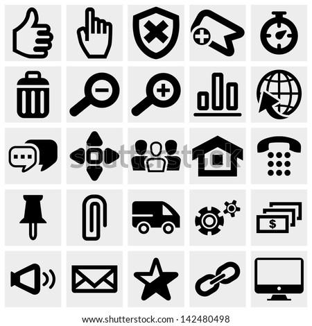 Set of social media vector icons set on gray. - stock vector