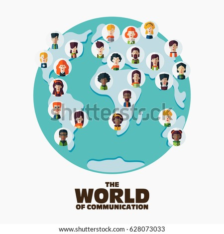 Set social multiethnic people icons on vector de stock628073033 set of social multi ethnic people icons on world map male and female faces gumiabroncs Gallery