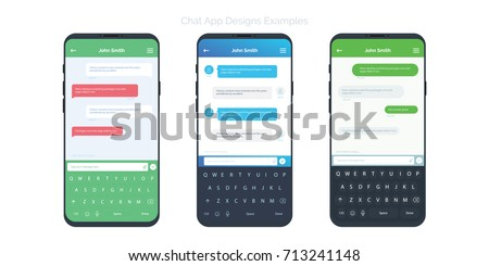 set of social network chat window concepts with different app design ideas chatting and messaging - App Design Ideas