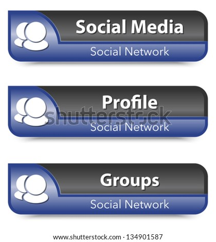 Set of Social network elements. Vector illustration