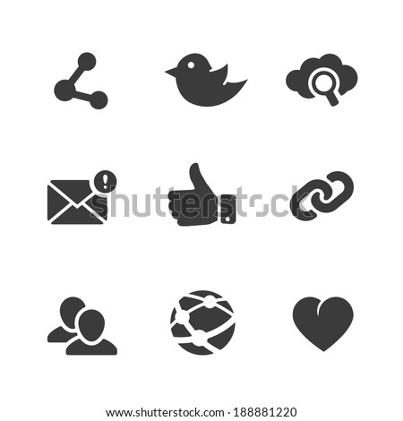 Set of social network icons with links twitter bird cloud computing  mail  like  hand  chain links people chat global network heart and contacts in black silhouette vector illustration - stock vector