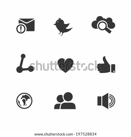 Set of social network icons with links twitter bird cloud computing mail like hand people chat global network heart and contacts in black silhouette vector illustration - stock vector