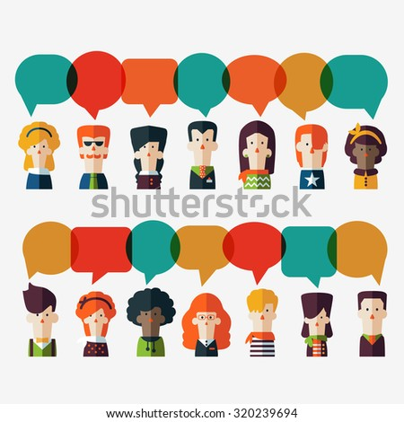 Set of social people icons with colorful dialog speech bubbles. Male and female faces avatars in modern design style. Communication, chat, assistance, interpretation and connection vector concept - stock vector