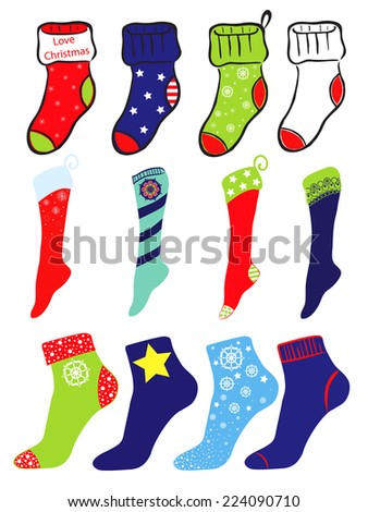 Set of socks on Christmas, winter and United States of America flag theme - stock vector