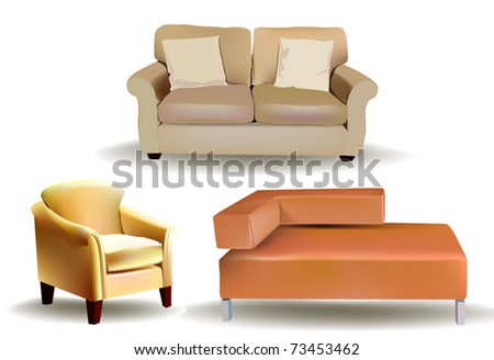 set of sofas - stock vector