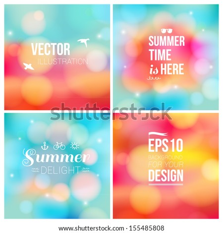 Set of soft blurry backgrounds with bokeh effect. Vector illustration. - stock vector