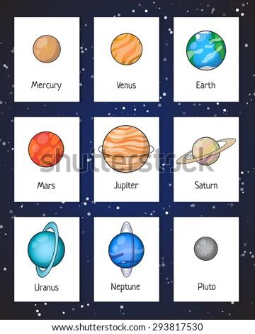 Set of Solar system planets: Mercury, Venus, Earth, Mars, Jupiter, Saturn, Uranus, Neptune, Pluto. Isolated space illustrations. - stock vector
