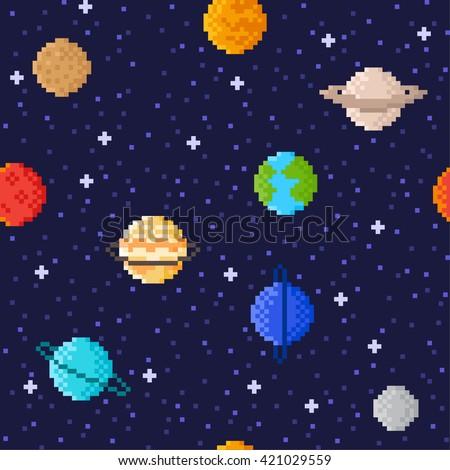 Set Solar System Planets Mercury Venus Stock Vector