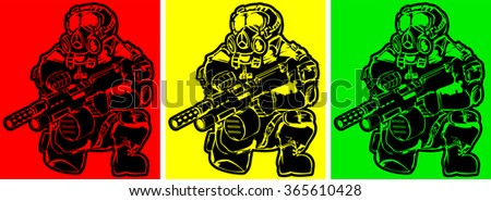 set of soldiers in gas masks with weapon. abstract post-apocalyptic vector illustration