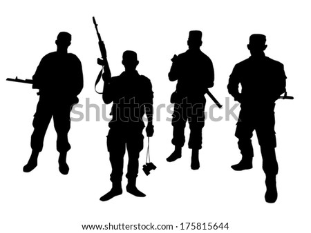 Set of soldiers silhouette - stock vector