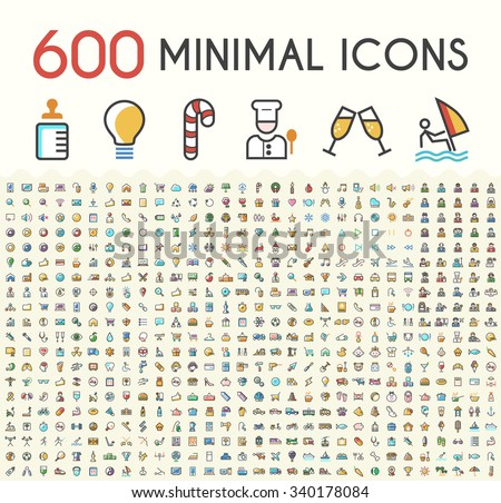 Set of 600 Solid Line Colored Multimedia, SEO, Business, Ecology, Education, Shopping, Transport, Home Appliances, Medical, Fitness and Sport, Beach, Baby, Veterinary, Christmas and Casino Icons.  - stock vector