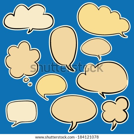 Set of some cartoon hand drawn colored speaking bubbles, contoured white and black, isolated design objects  - stock vector