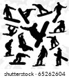Set of Some Snowboarders Silhouettes Hand Drawn - stock vector