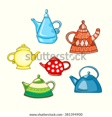 Set of some various hand drawn tea pots. Vector graphics. - stock vector