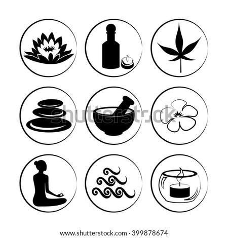Set of spa, yoga and ayuverda symbols. - stock vector
