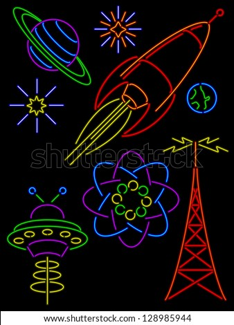 Set of space age retro neon symbols - stock vector