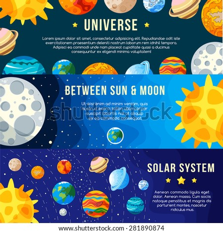 Set of Space banners concepts. Solar system. Vector - stock vector
