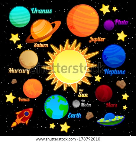 Set of Space Elements - stock vector