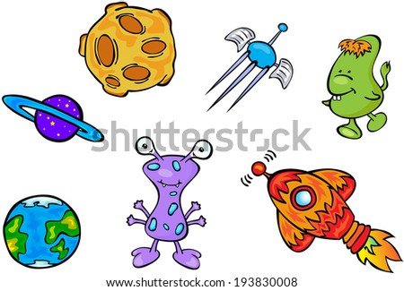 Set of space monsters, planets and rockets. Vector illustration - stock vector
