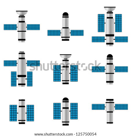 Set of space satellites on the white background. - stock vector