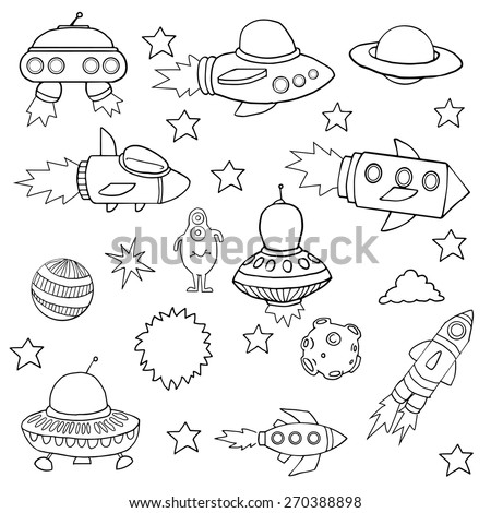 Set of Space ships, planets, and aliens, hand drawn, vector illustration - stock vector