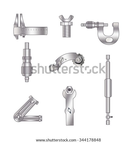 Set of spare parts, machining tools, industrial services, repair clock: micrometer, screw, hydraulic cylinder, piston engine, gear, cogwheel, coupling mechanisms, helical (coil) spring. - stock vector