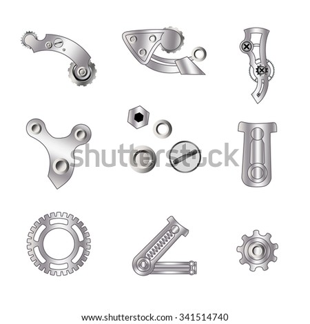 Set of spare parts, machining tools, industrial services, repair clock: micrometer, screw, piston engine, bicycle chain, metal plate. Design of gradient gray with line - stock vector