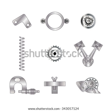 Set of spare parts, machining tools, industrial services, repair clock: micrometer, screw, piston engine, gear, cogwheel, coupling mechanisms, helical (coil) spring. Design of gradient gray with line  - stock vector