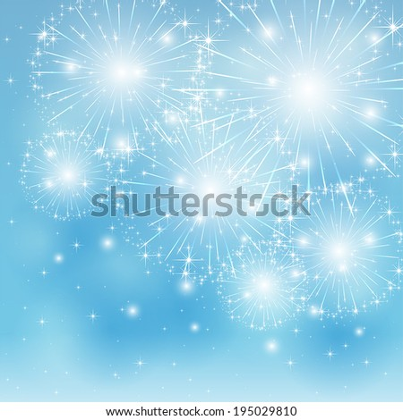 Set of sparkle firework on blue background, illustration. - stock vector