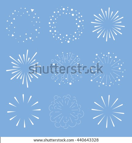 Set of Sparkles and Bursts. Minimal design. Geometric Shapes, Light Ray Collection. - stock vector