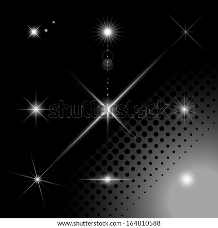 Set of sparkles on transparent background. Lens flare effect. Vector - stock vector