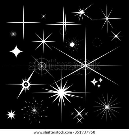 Set of Sparkles Star Vector. Sparkle white symbols on black background. - stock vector