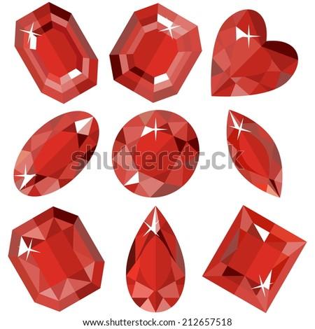 Set of sparkling amethyst of various shapes. Vector illustration. - stock vector