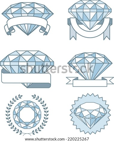 Set of Sparkling diamonds with banners Prize Award, with six different diamonds rocks in different sizes and rounded by many different types of banners awards. Vector illustration.