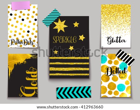 Set of Sparkling Gold-dusted Cards - Gold leaf and gold glitter on black and white, including abstract, polka dots, stripes and star shapes, and washy tape - stock vector