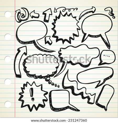 set of speak bubble in doodle style - stock vector