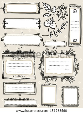 Set of special hand draw labels and banners, vector illustration - stock vector