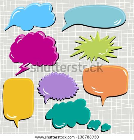 set of speech and thought blobs, scrapbook design elements vector - stock vector