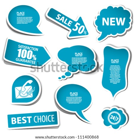 Set of speech and thought bubbles, element for design, vector illustration - stock vector