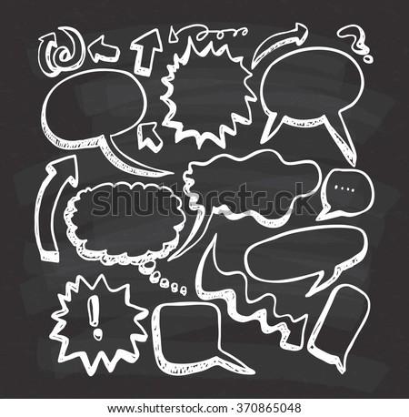 set of speech bubble doodle on chalkboard background - stock vector