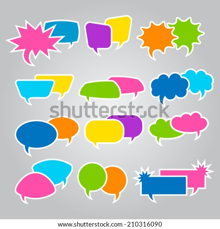 Set of speech bubble icons on gray background. Vector illustration.