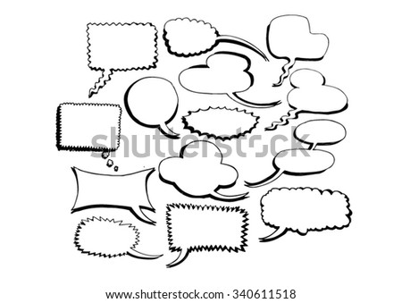 set of speech bubble in doodle style isolated on white background