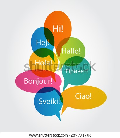 Set of Speech Bubble with Hello Word on Different Languages (Danish, Spanish, Russian, English, German, Italian, Lithuanian, French) Vector Illustration EPS10
