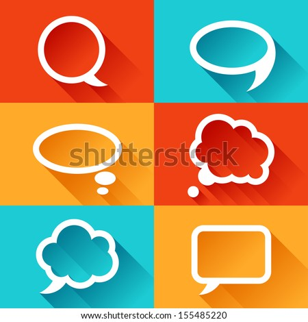 Set of speech bubbles in flat design style. - stock vector