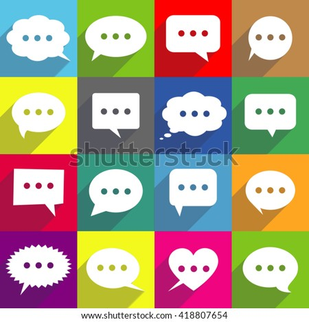 Set of speech bubbles in flat design style - stock vector