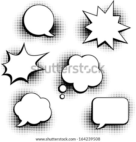 Set of speech bubbles in pop art style. - stock vector