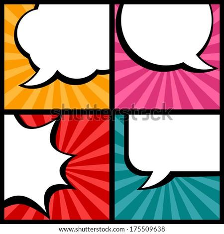 Set of speech bubbles in pop art style. - stock vector