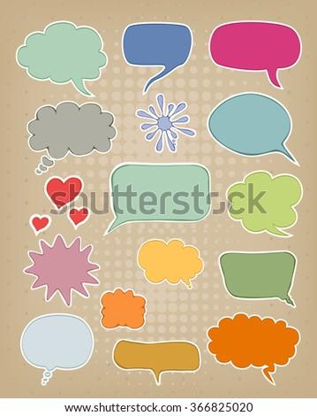 set of speech bubbles on brown carton background - stock vector