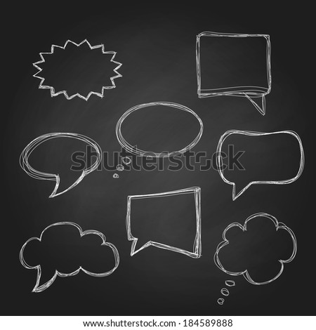 Set of speech bubbles on chalkboard. Vector illustration. - stock vector