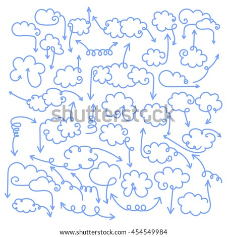Set of speech bubbles with arrows. Empty cloud template with editable stroke. Design element for business card, paper sheet, information, note, message, motivation, comment. Vector illustration. - stock vector
